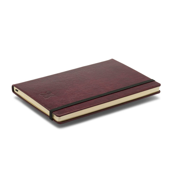 Leather A5 Notebook Journal in Burgundy with blue badge company logo embossed on the top