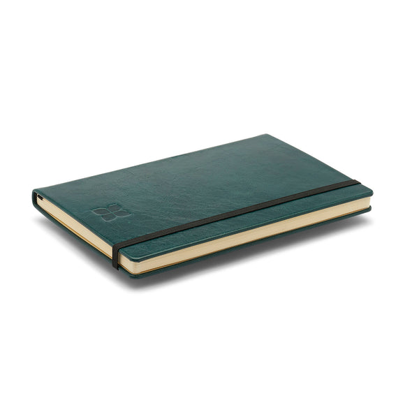 Leather A5 Notebook Journal in Lake Green with blue badge company logo embossed on top