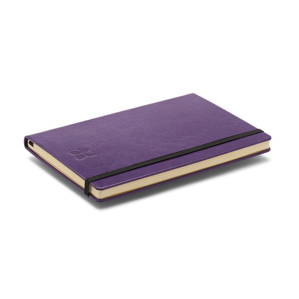 Leather A5 Notebook Journal in Purple with blue badge company logo embossed on top