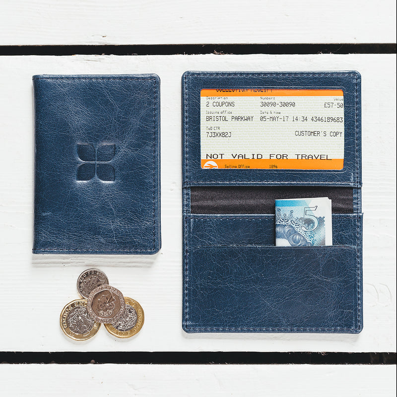 Italian Leather Card Holder in Navy Air Force One