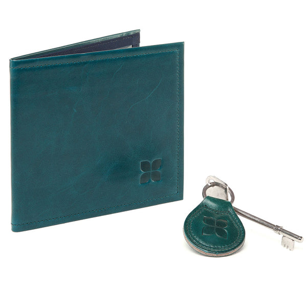 Leather Blue Badge Wallet, Keyring and RADAR Disabled Toilet Key in Lake Green with blue badge company logo embossed on both items