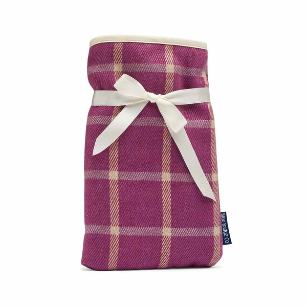 Mini Hot Water Bottle in Heather with luxuriously padded soft cotton cover finished with a satin ribbon
