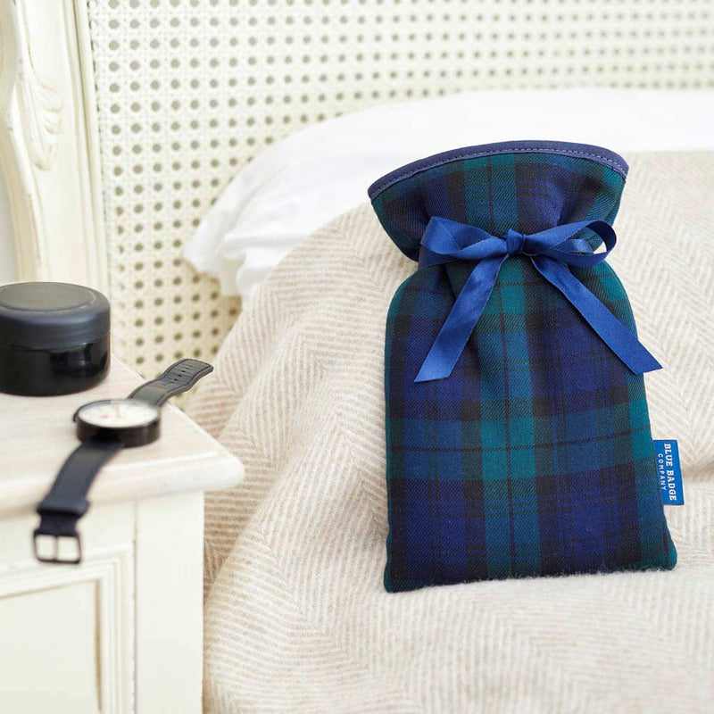 Mini Hot Water Bottle and Soft Padded Cover in Blackwatch Tartan with Satin Navy Ribbon