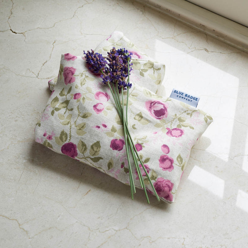 Lavender Wheat Warmer, Heated Wheat Bag in Mulberry Rose