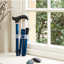 Adjustable Folding Walking Stick in Navy & Fabric Storage Bag in William Morris Marigold Indigo