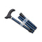 Adjustable Folding Walking Stick Cane in Navy folded up with blue badge company logo printed on top