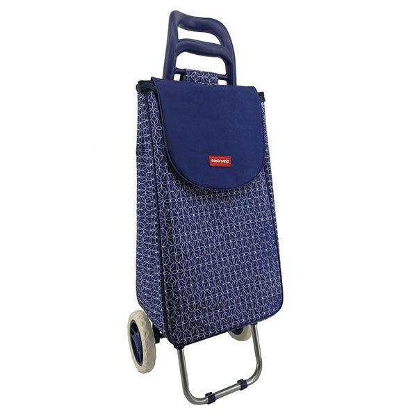 Foldable Shopping Cool Bag Trolley in Navy frontal image