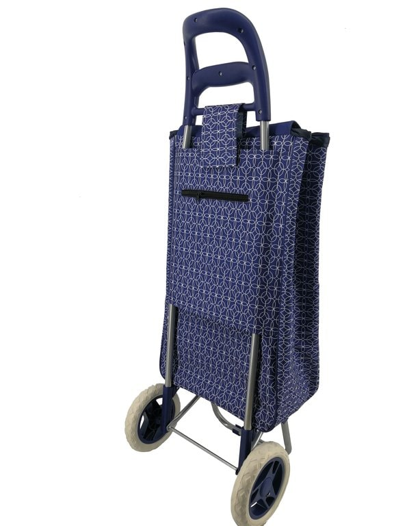 Navy Foldable Shopping Trolley with Cool Bag Geometric design and ergonomic handle for easy transport