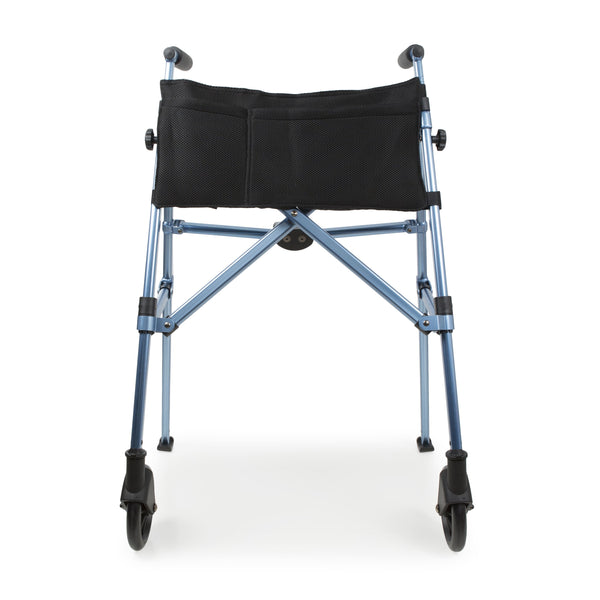 Frontal full image of open folding walking frame in navy