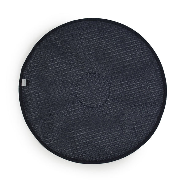 Back of the Navy Swivel Car Seat Cushion over white background