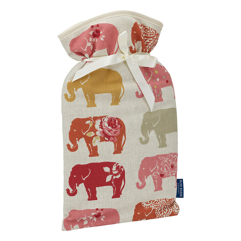 Large Hot Water Bottle in Nelly Elephant with white satin ribbon and blue badge company label showing