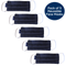 Pack of 5 Cotton Face Masks in Navy Drill, With Pouch for Additional Filter
