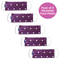 Pack of 5 Face Mask in Spotty Purple, With Pouch for Additional Filter.