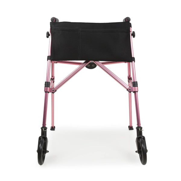 Frontal full image of open folding walking frame in pink
