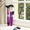 Adjustable Folding Walking Stick in Purple & Fabric Storage Bag in Mulberry Rose