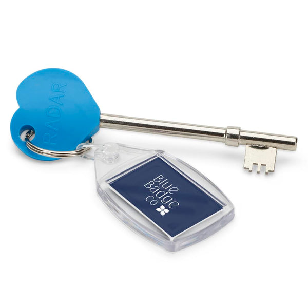 Genuine RADAR Disabled Toilet Key with Blue Heart Comfort Grip and blue badge company kering attached