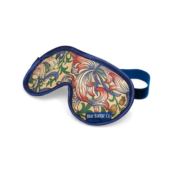 Lavender Eye Mask in William Morris Golden Lily with satin trim and blue badge company label showing