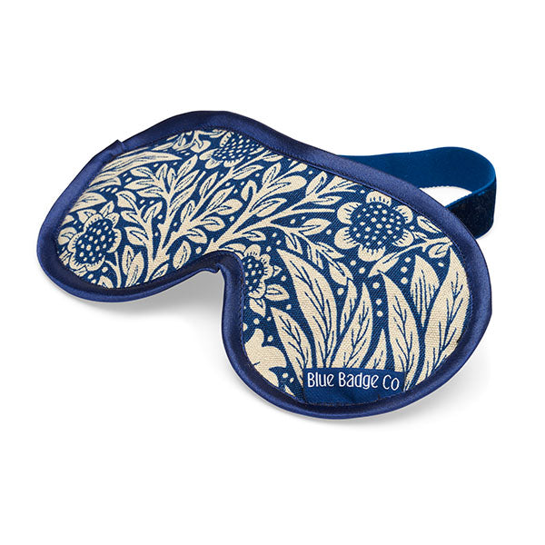 Lavender Eye Mask in William Morris Marigold Indigo with blue satin trim and blue badge company label