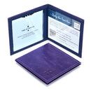 Leather Disabled Blue Badge Wallet in Purple blue badge company logo embossed on top displayed open with parking clock and permit visible with hologram safe design