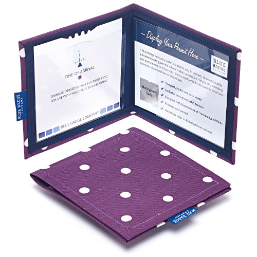 Disabled Blue Badge Wallet in Purple Spotty displayed open with parking clock and parking permit visible and hologram safe design