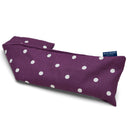 Lavender Wheat Warmer, Heated Wheat Bag in Purple Spotty with blue badge company label showing