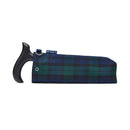 Fabric Storage Bag for Folding Walking Stick in Blackwatch Tartan with blue badge company label showing against a white background