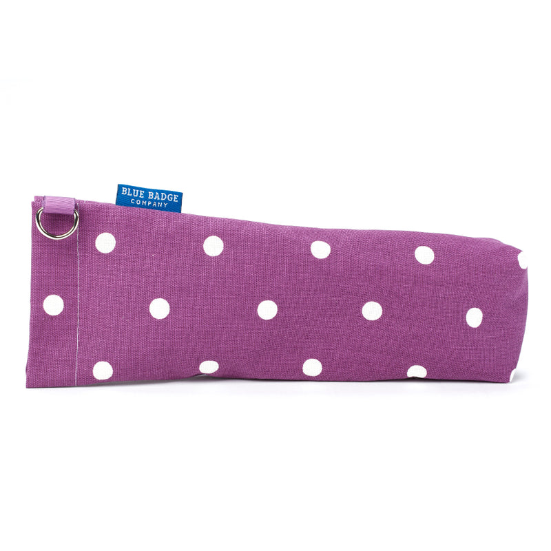 Fabric Storage Bag for Folding Walking Stick in Purple Spotty with blue badge company label showing