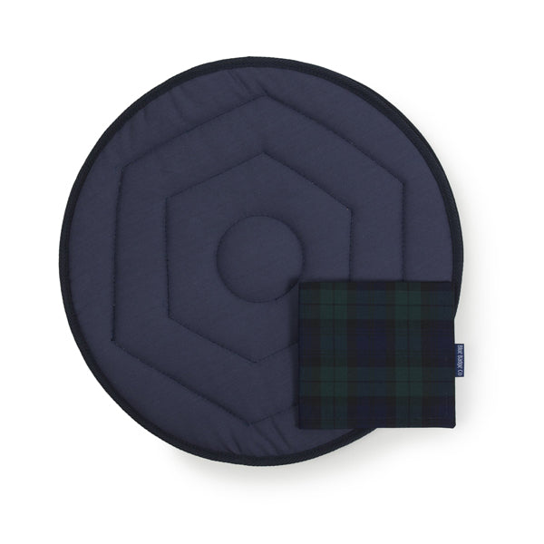 Swivel Cushion and Blue Badge Co Blackwatch Tartan PArking Permit Cover over white background