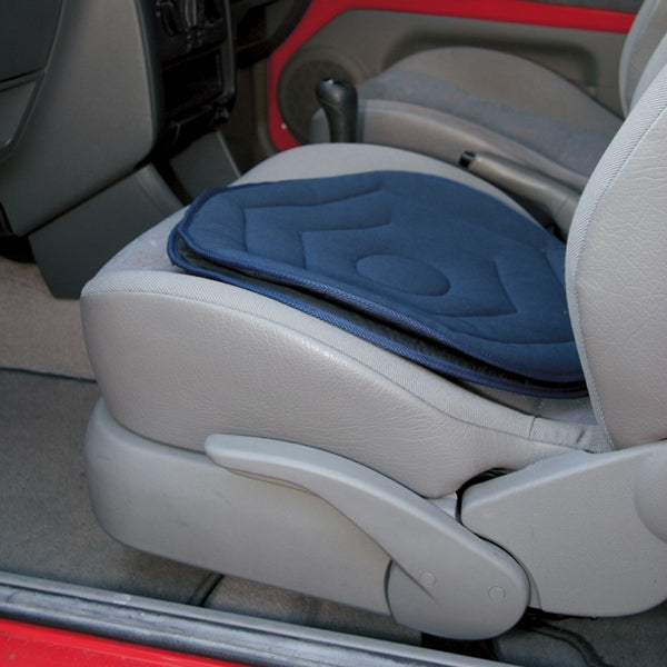 Swivel Cushion for Car Seat in Navy in use on car seat