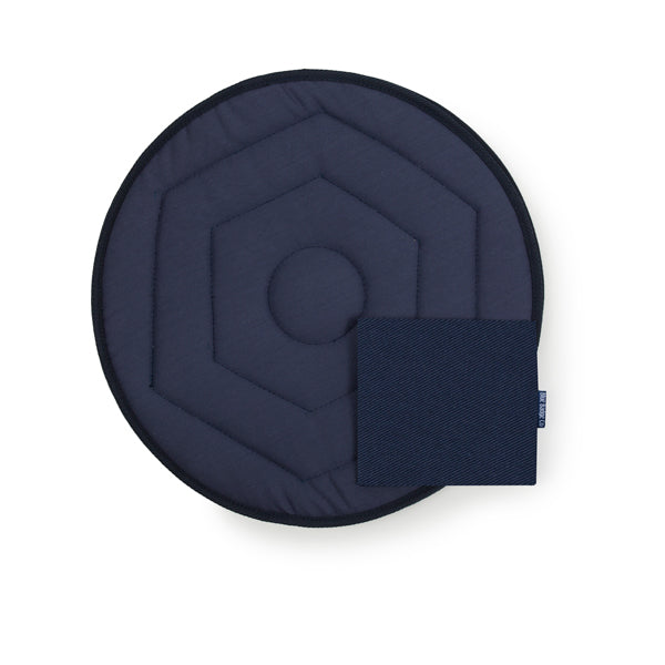 Swivel Car Cushion and Blue Badge Wallet in Navy Drill Design