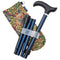 Adjustable Folding Walking Stick in Navy & Fabric Storage Bag in William Morris Golden Lily