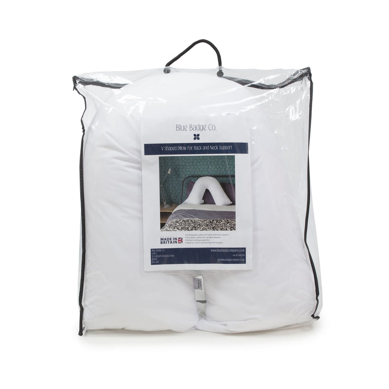 V shaped pillow for neck and back support in packaging bag