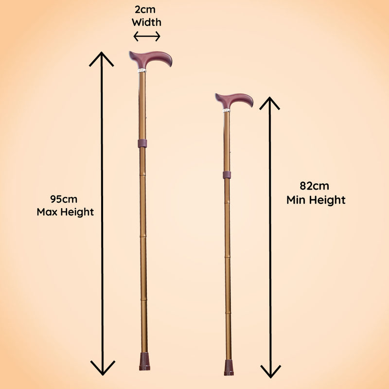 Adjustable Folding Walking Stick in Bronze & Fabric Storage Bag in William Morris Golden Lily