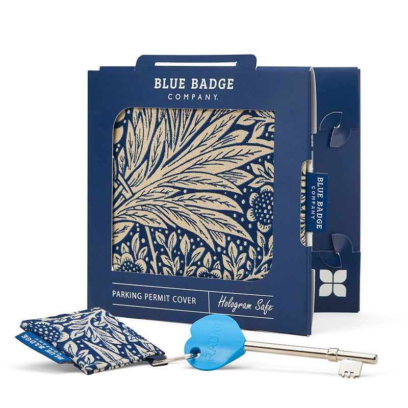 Disabled Blue Badge Wallet, Keyring and RADAR key in William Morris Marigold Indigo packed in blue badge company recyclable packaging