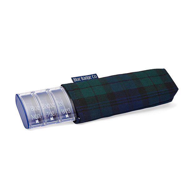 Weekly Pill Box with Stylish Carry Case in Blackwatch Tartan