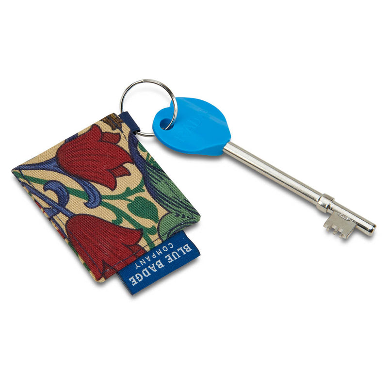 Genuine RADAR Disabled Toilet Key & Fabric Keyring in William Morris Golden Lily with BLue Badge Company label attached and placed against a white background