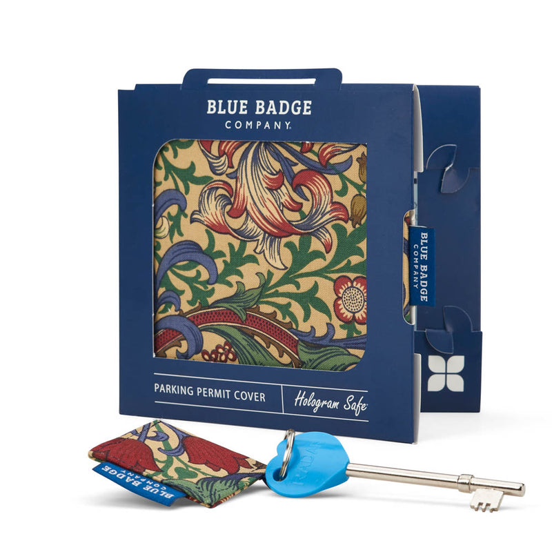 Disabled Blue Badge Wallet in William Morris Golden Lily and RADAR Disabled Toilet Key packed in blue badge company recyclable packaging