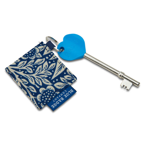 Genuine RADAR Disabled Toilet Key & Fabric Keyring in William Morris Marigold Indigo with blue badge company label showing and placed against a white background