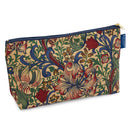 Toiletry Bag, Wash Bag in William Morris Golden Lily with dark blue zip and blue badge company label showing against a white background