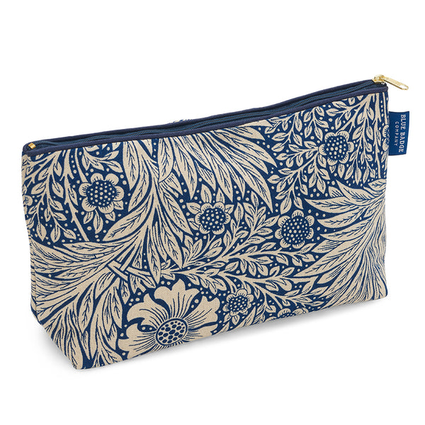 Toiletry Bag, Wash Bag in William Morris Marigold Indigo print with dark blue zip and blue badge company label showing against a white background