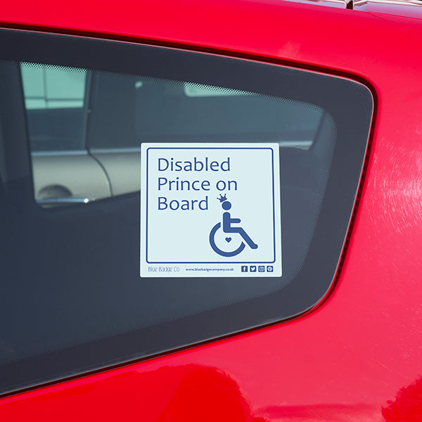 Disabled Car Sticker Square - Disabled Prince on Board!
