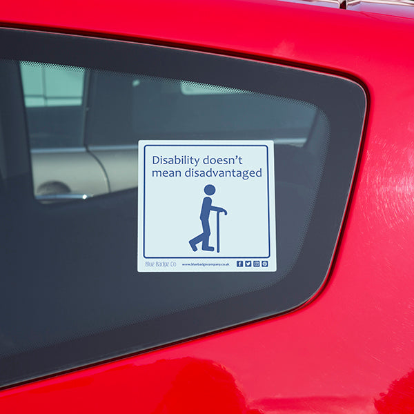 Disabled Car Sticker Square - Disability doesn't mean disadvantagedDisabled Car Sticker Square - Disability doesn't mean disadvantaged in use on car window
