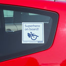 Disabled Car Sticker Square - Superhero on board!