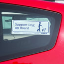 Disabled Car Sticker Rectangle  - Support Dog on Board stuck on a red car