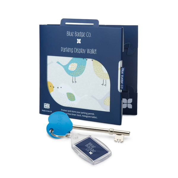 Disabled Blue Badge Wallet in Garden Birds and RADAR Disabled Toilet Key in blue badge company recyclable packaging against a white background