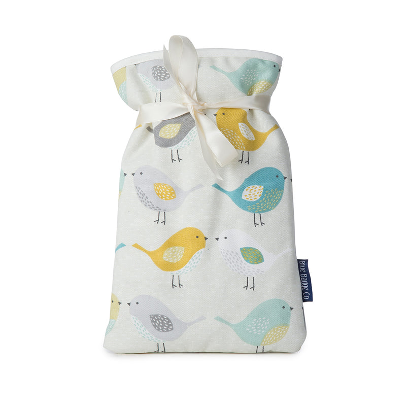 Mini Hot Water Bottle in Garden Birds with white satin ribbon and blue badge company label showing