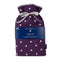 Large Hot Water Bottle in Purple Spotty