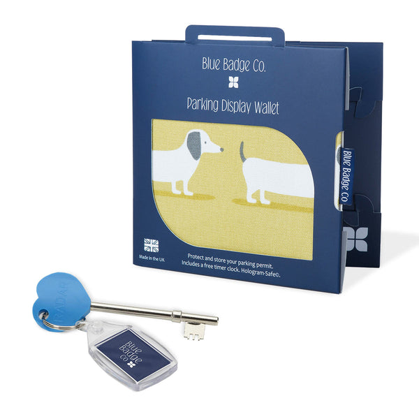 Disabled Blue Badge Wallet in Sausage Dog packed in blue badge company recyclable packaging and RADAR Disabled Toilet Key with blue badge company keyring