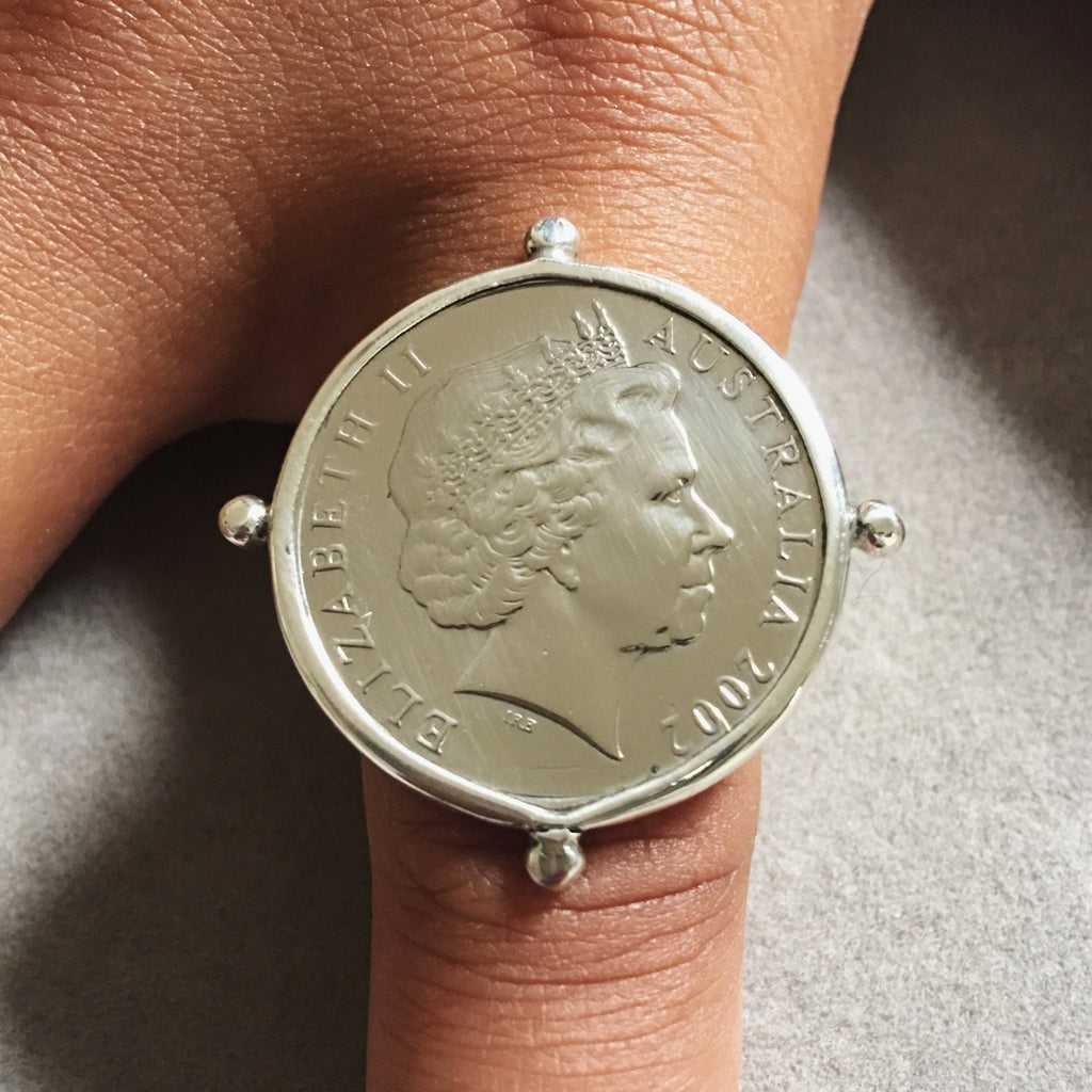 Large Silver Coin Ring