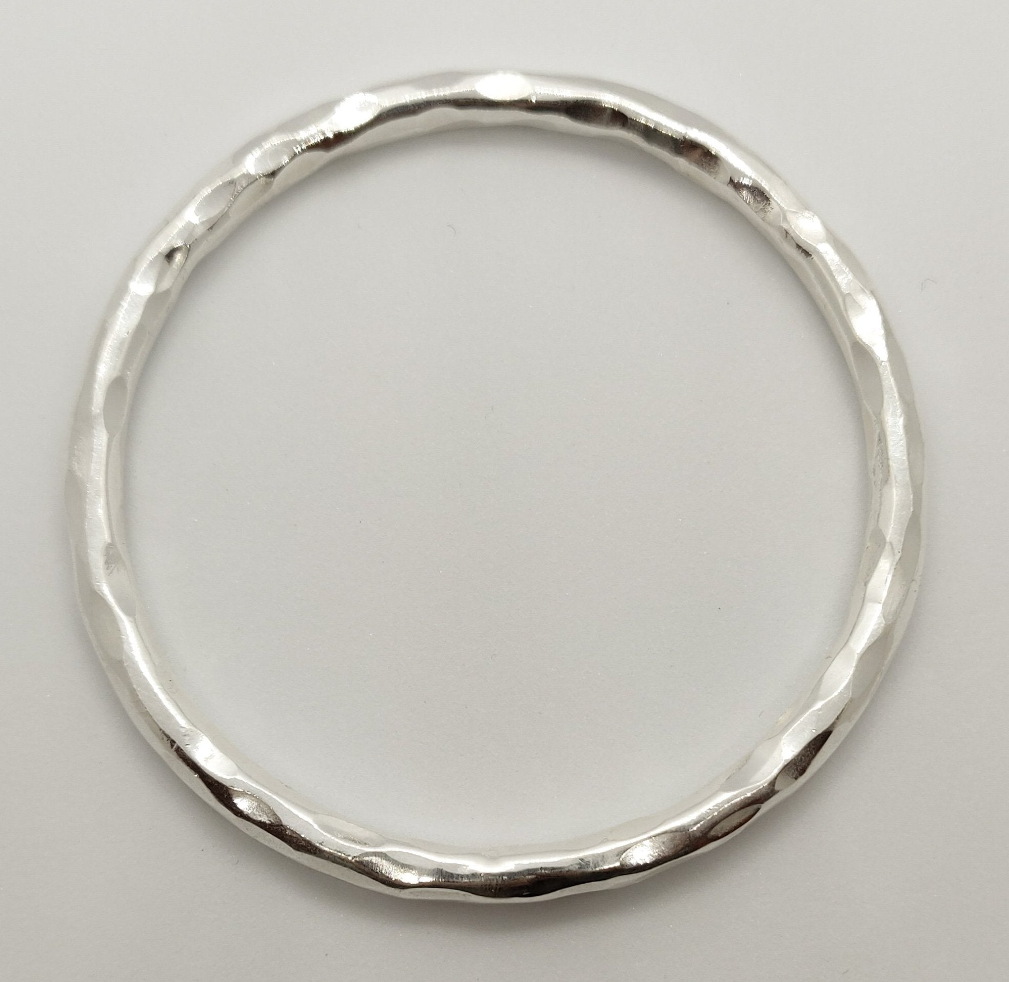 Faceted Hammered Thick Silver Bangle